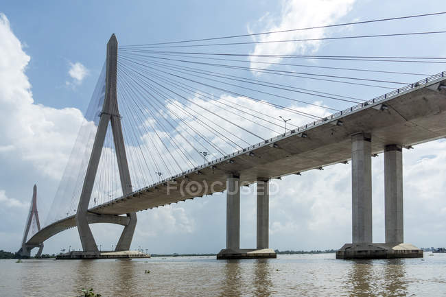 Vietnam, Nam Bo, Can Tho, vista su Can Tho Bridge — Foto stock