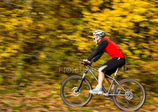 Їде mountaimbike в осінній ліс — стокове фото