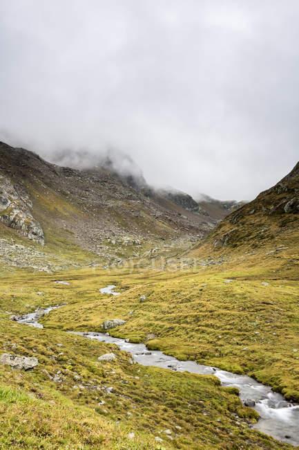Austria, Tirolo, Valle Kauner, torrente di montagna e verde valle dell'erba vicino alle colline — Foto stock