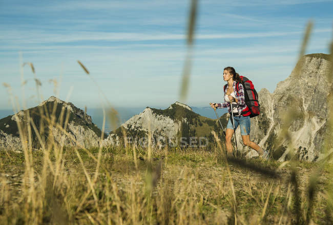 Woman hiking hiking in mountains — Stock Photo