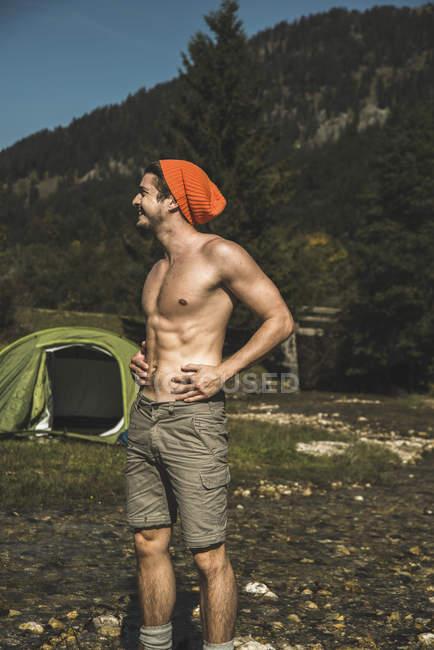 Austria, Tyrol, Tannheimer Tal, young  hiker relaxing — Stock Photo
