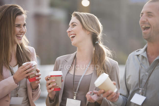 Three colleagues having fun at break time — Stock Photo