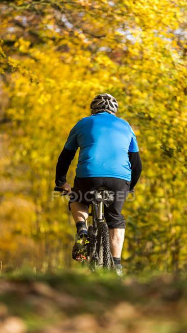 Alemanha, Baden-Wuerttemberg, Senior man mountain bike no parque de outono — Fotografia de Stock
