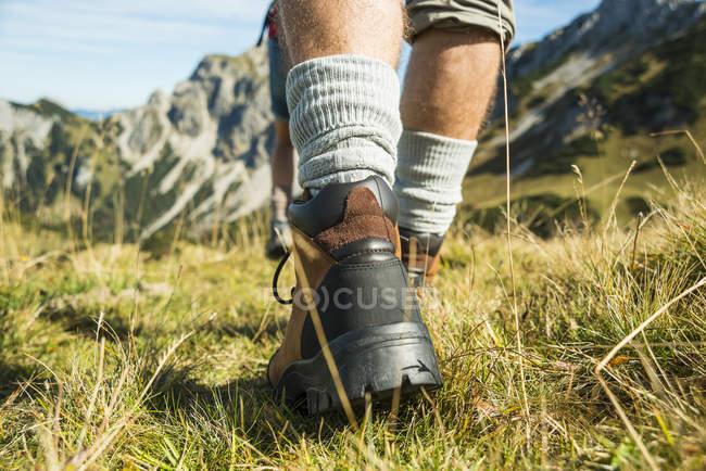 Austria, Tirolo, Tannheimer Tal, primo piano del giovane escursionismo — Foto stock