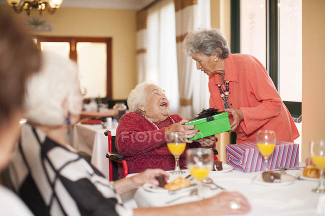 Birthday party in a retirement village — Stock Photo