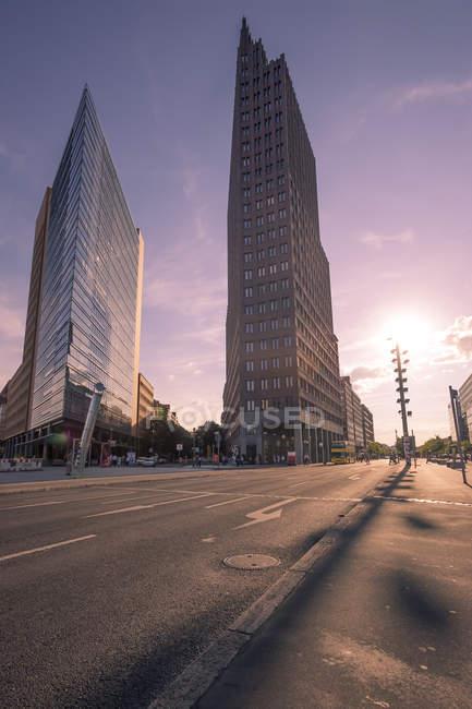 Germany, Berlin, Potsdam Square, skyscrapers at dawn — Stock Photo