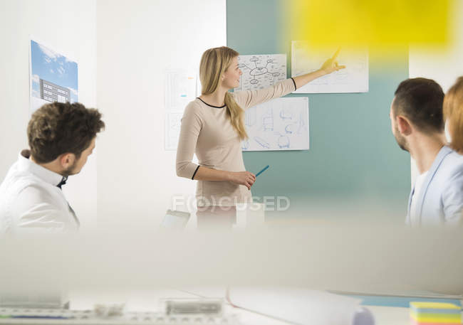 Young woman leading a presentation in a business meeting — Stock Photo