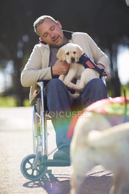 Людина в інвалідному візку з собаки цуценя в парку — стокове фото