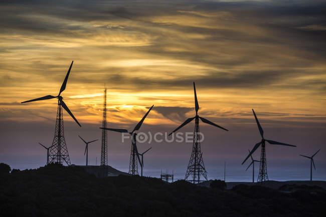 Мальовничий вид на ВЕС у вечірній світло, Tarifa, Андалусия, Іспанія — стокове фото