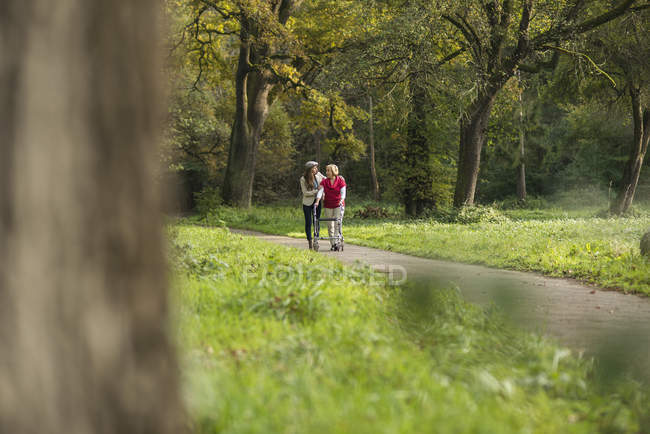 Senior woman and granddaughter walking together in a park — Stock Photo
