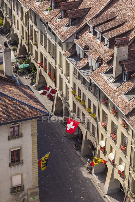 Switzerland, Bern, old town, view from minster to Muenstergasse — Stock Photo