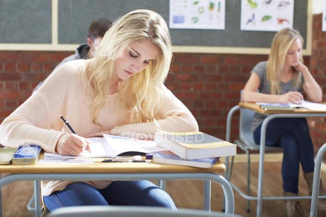 Ritratto di studenti in classe che scrivono alle scrivanie — Foto stock