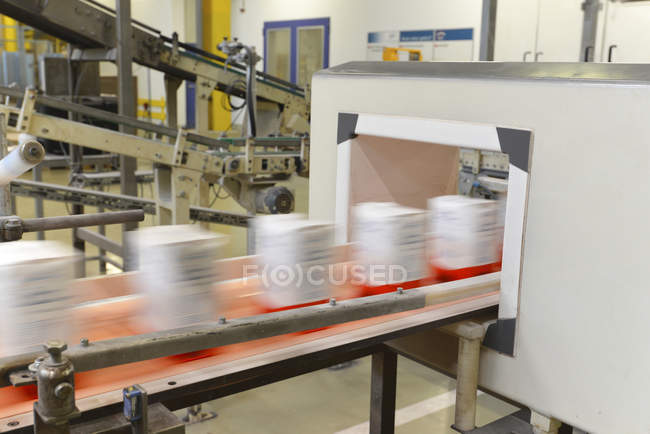 Production line with refined sugar — Stock Photo