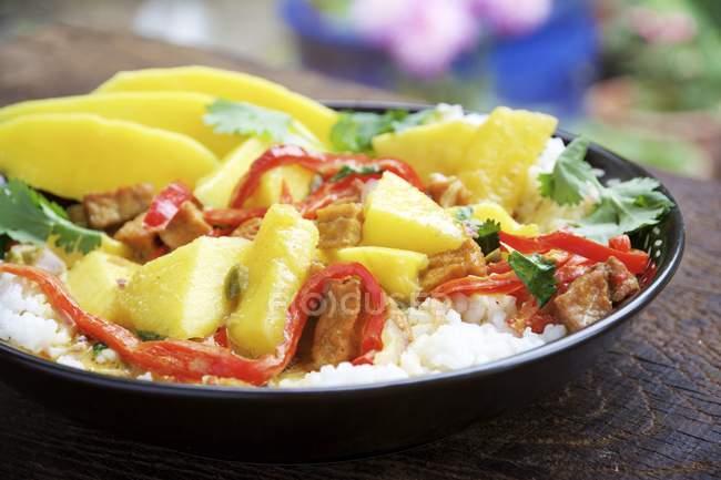 Mango und würzigen Tofu in einer Kokosnuss-curry-Sauce auf Reis — Stockfoto
