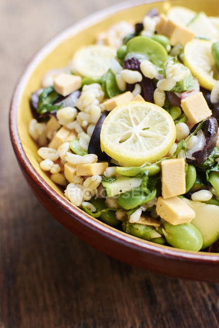 Warm salad with field beans, shallots, zucchini, black olives, mint, barley and vegan cheese — Stock Photo