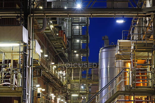 Germany, Minden, chemical plant at night — Stock Photo