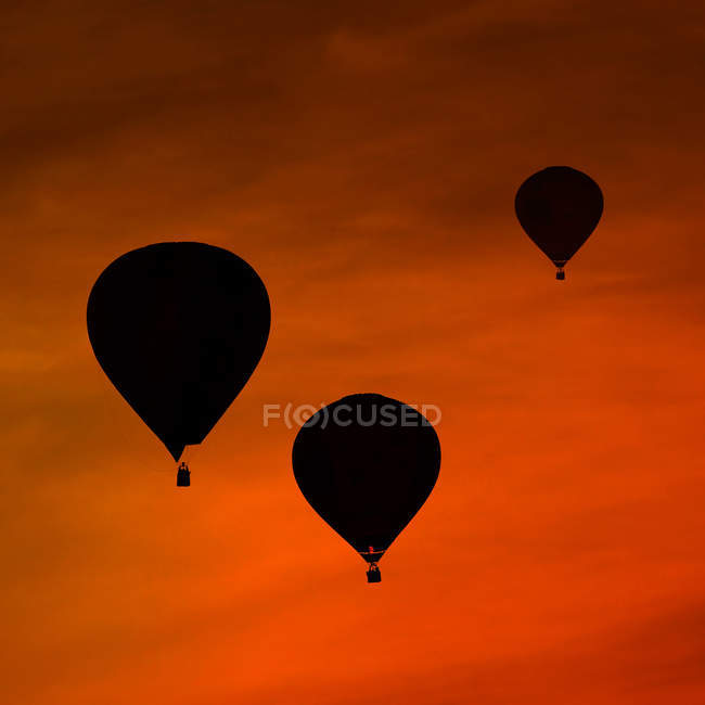 Silhouettes of three air balloons in front of red evening sky — Stock Photo