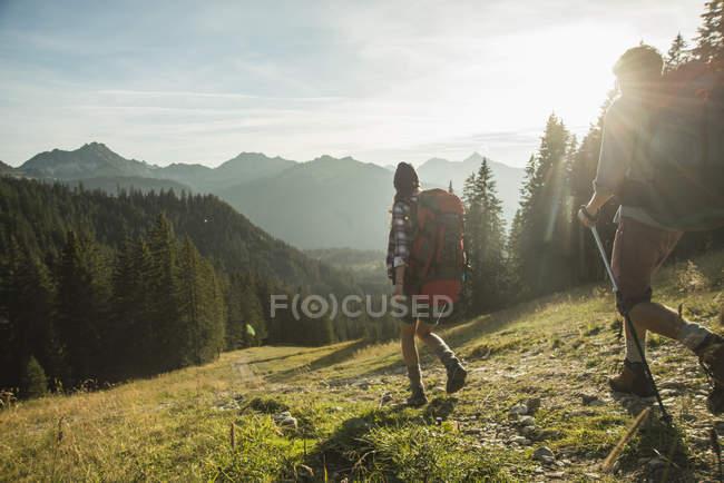 Austria, Tirolo, Tannheimer Tal, coppia di giovani escursionisti al sole sui prati alpini — Foto stock
