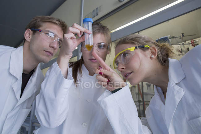 Three chemists working in a chemical laboratory looking at test tube — Stock Photo