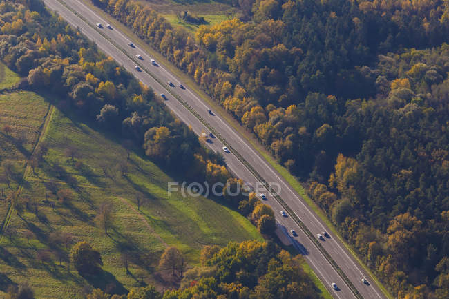 Germany, Baden-Wuerttemberg, aerial view of Bundesstrae B27 near Schlaitdorf — Stock Photo