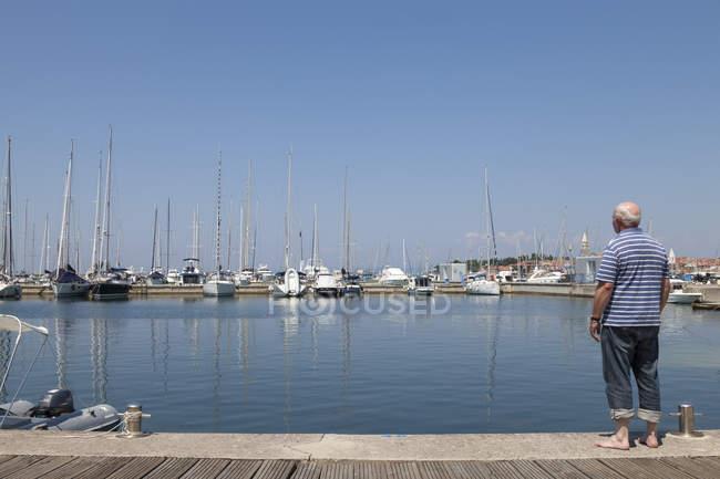 Eslovenia, Istria, Izola, vista trasera del hombre en la orilla del mar con puerto deportivo - foto de stock