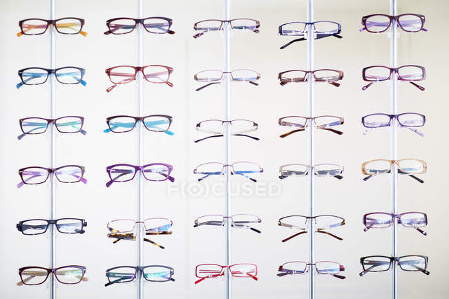 Assortment of glasses in an optician shop — Stock Photo
