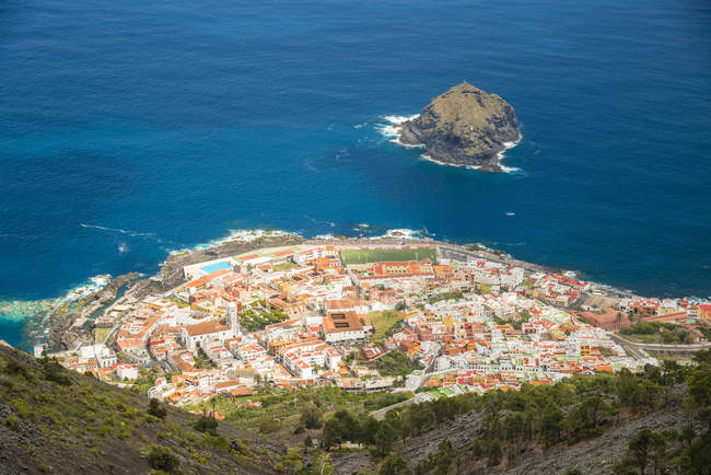 Spain, Canary Islands, Tenerife, View of Coastal town of Garachico from above — Stock Photo