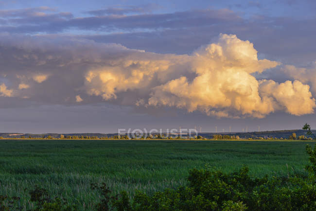 Austria, Burgenland, Moerbisch, Pannonian landscape with wind park and heavy thunder storm clouds, evening sky — Stock Photo