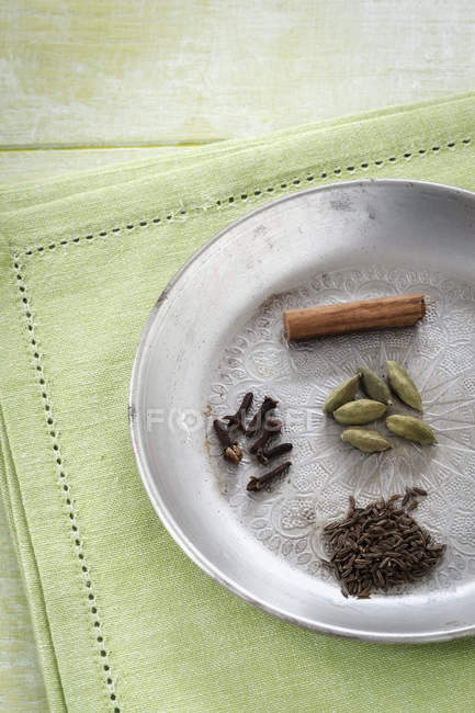 Cardamom capsules, cloves, cumin and cinnamon stick on metal plate, close-up — Stock Photo