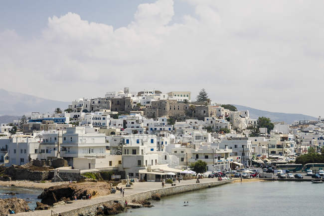 Greece, Cyclades, Naxos City, Cityscape and harbour — Stock Photo