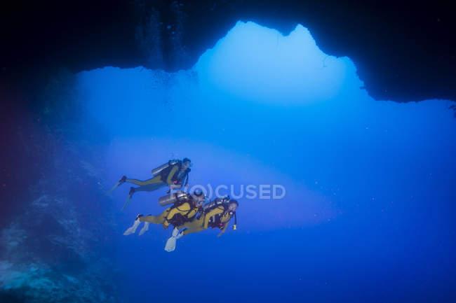 Палау, Тихий океан, аквалангистов в подводной пещере — стоковое фото