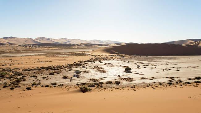 Африка, Намібія, Sossusvlei, перегляд пісок дюни і мертві Vlei — стокове фото