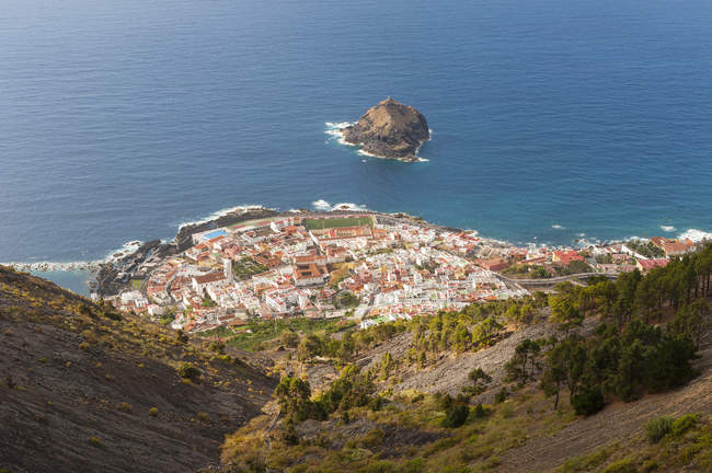 Spain, Canary Islands, Tenerife, Top view of Garachico on the north coast — Stock Photo
