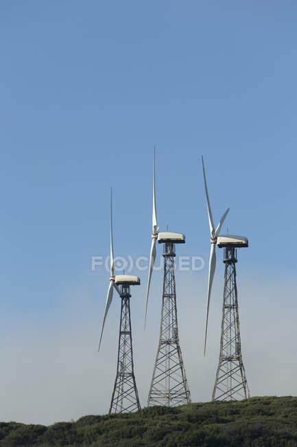 Spain, Andalusia, Tarifa, Wind farm on green hill — Stock Photo