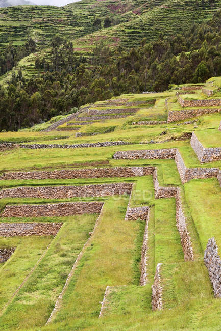 South America, Peru, View of Chinchero and trees on background — Stock Photo