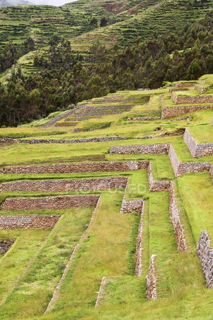 Sud America, Perù, vista di Chinchero e alberi su priorità bassa — Foto stock