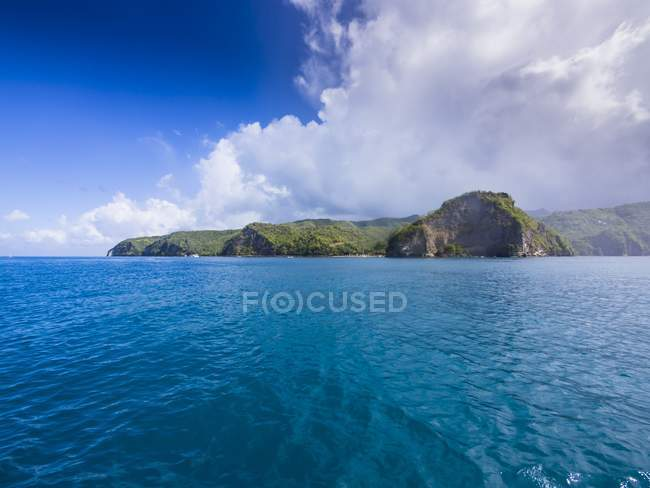 Antilles, Lesser Antilles, Saint Lucia, Soufriere, view to rocky coast — Stock Photo