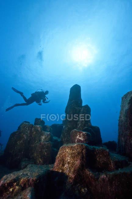 Portugal, Azores, Santa Maria, Océano Atlántico, buzo en arrecife volcánico de basalto - foto de stock