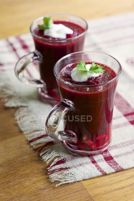 Листя буряка і томатний приготування гаспачо з солідна порція соєвого йогурт і петрушкою — стокове фото