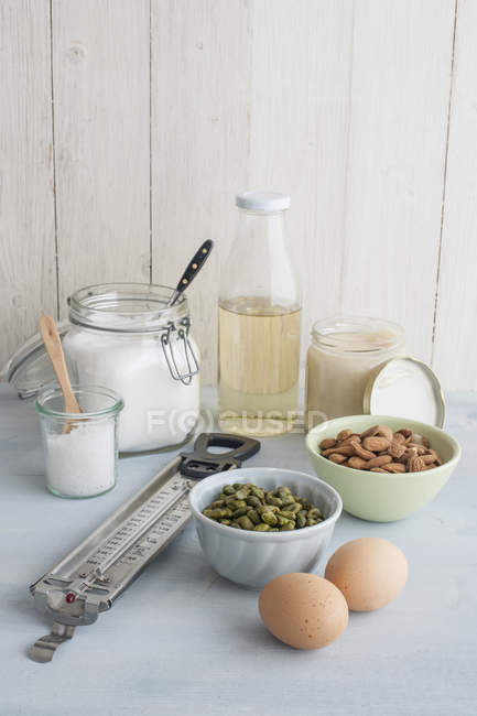 Thermometer and ingredients for making turron — Stock Photo