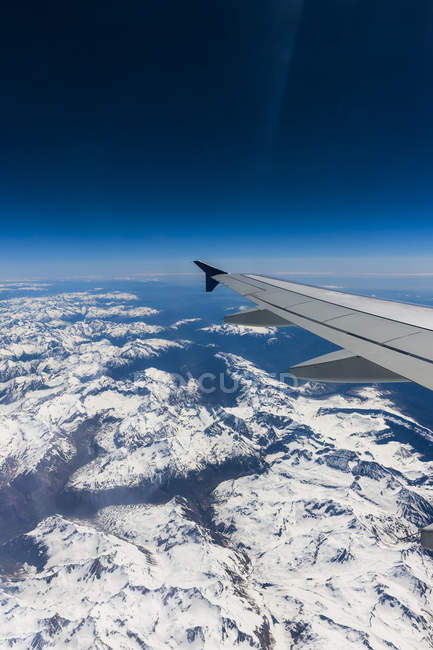 Scenic view of plane during flight over Alps — Stock Photo