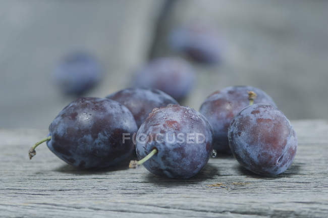 Closeup view of plums with water drops on grey wood — Stock Photo