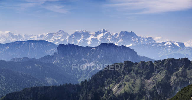 Germany, Bavaria, Chiemgau Alps, view from Hochfelln southwards to Hoerndlwand and Loferer Steinberge during daytime — Stock Photo