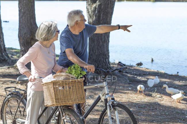 Pareja senior en bicicleta al aire libre - foto de stock