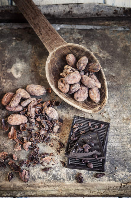Zerkleinert und ganzen Kakaobohnen und dunkler Schokolade — Stockfoto