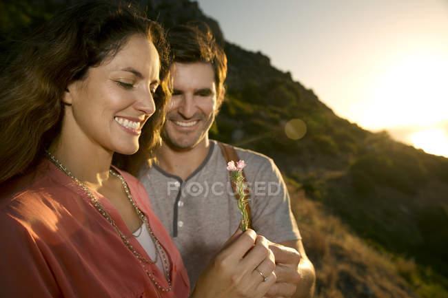 Happy couple at evening twilight — Stock Photo