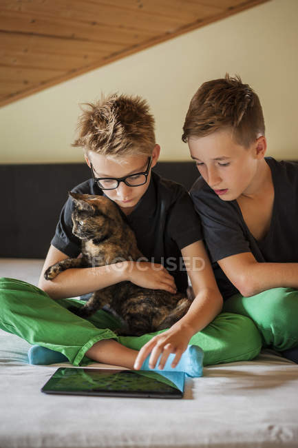 Two boys sitting on bed with a cat using digital tablet — Stock Photo