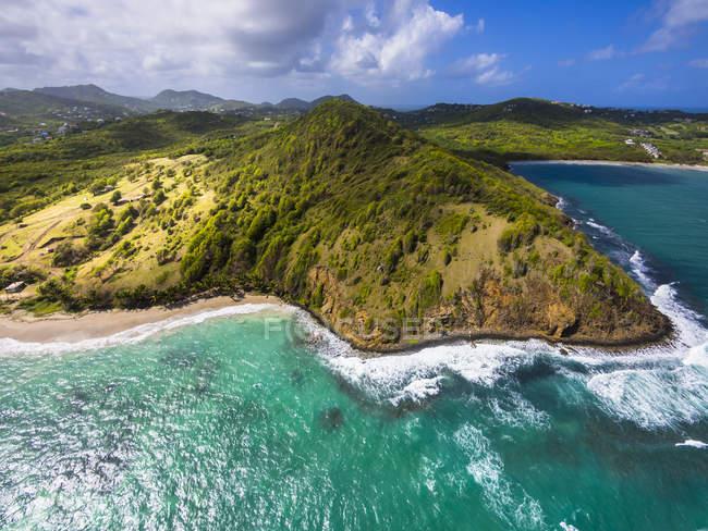 Caraïbes, Sainte-Lucie, vue aérienne de la baie de Epouge et Plantation — Photo de stock