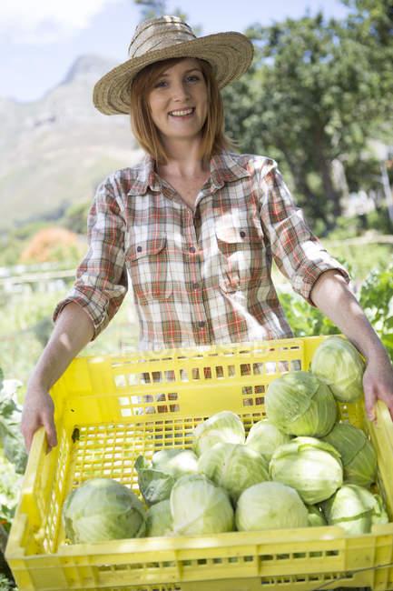 Portrait of female gardener presenting plastic box of harvested cabbages — Stock Photo