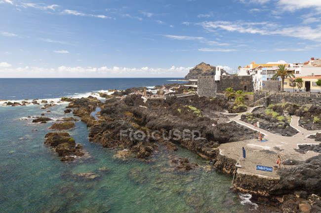 Spain, Canary Islands, Tenerife, View of Garachico on the north coast — Stock Photo